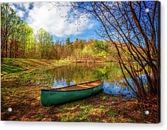Canoe At Lakeside Acrylic Print by Debra and Dave Vanderlaan