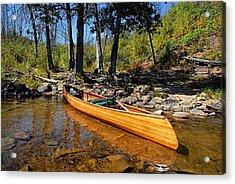 Canoe At Portage Landing Acrylic Print by Larry Ricker