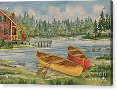 Canoe Camp With Cabin Acrylic Print by Paul Brent