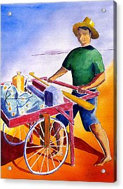 Canoe Fisherman With Cart Acrylic Print by Buster Dight