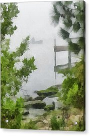 Canoe In Lake Fog Acrylic Print