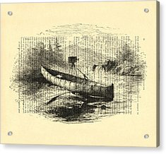Canoe With Field Camera In Black And White Antique Illustration Acrylic Print by Madame Memento