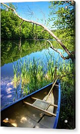 Canoe On A Mountain Lake Acrylic Print by Debra and Dave Vanderlaan