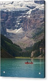 Canoe On Lake Louise Acrylic Print by Debby Herold