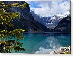 Canoe On Lake Louise Acrylic Print