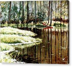 Canoe On Pond Acrylic Print