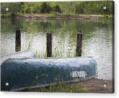 Canoe On The Pond Acrylic Print by Ron Grafe