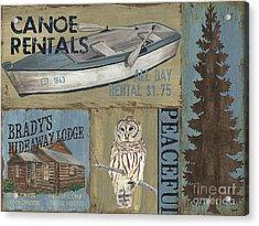 Canoe Rentals Lodge Acrylic Print by Debbie DeWitt