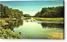Canoeing Acrylic Print by Gina Cormier