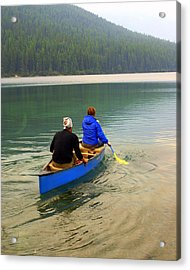 Canoeing Glacier Park Acrylic Print by Marty Koch