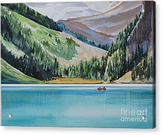 Canoeing-in-lake-louise Acrylic Print by Nancy Newman