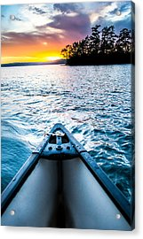 Canoeing In Paradise Acrylic Print by Parker Cunningham