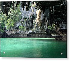 Canoeing In Thailand Acrylic Print by Kelly Jones