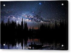 Canoeing - Milky Way - Night Scene Acrylic Print