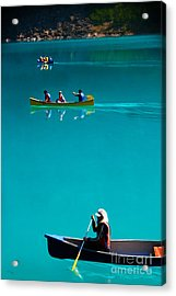 Canoeing On Glaciel Waters Acrylic Print