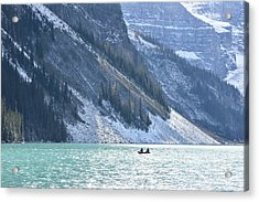 Canoeing On Lake Louise Acrylic Print