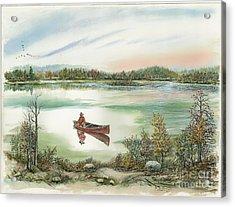 Canoeing On The Lake Acrylic Print by Samuel Showman