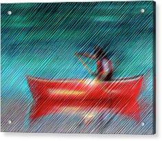Canoeist In The Rain - Canadiana Waterscape Acrylic Print by Rayanda Arts
