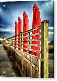 Canoes And Walkway, Surf City, North Carolina Acrylic Print