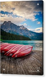 Canoes At Emerald Lake In Yoho National Park Acrylic Print
