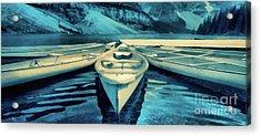 Canoes Banff Mug Acrylic Print by Edward Fielding