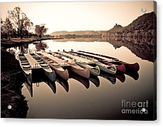 Canoes In The Early Morning Acrylic Print