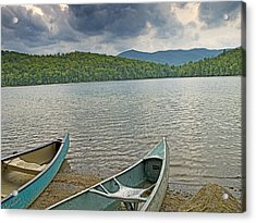 Canoes On Heart Lake Adirondack Park New York Acrylic Print by Brendan Reals