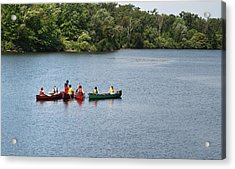Canoes On Lake Acrylic Print
