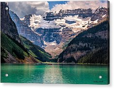 Acrylic Print featuring the photograph Canoes On Lake Louise by Claudia Abbott