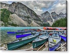 Canoes On Moraine Lake  Acrylic Print