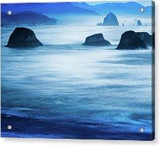 Canon Beach Blues Acrylic Print by Debi Bishop