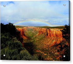 Canyon Rainbow Acrylic Print by Ellen  Leigh