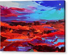 Acrylic Print featuring the painting Canyon At Dusk - Art By Elise Palmigiani by Elise Palmigiani