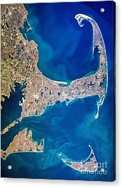 Cape Cod And Islands Spring 1997 View From Satellite Acrylic Print by Matt Suess