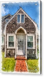 Cape Cod Cottage Watercolor Acrylic Print by Edward Fielding