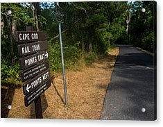 Cape Cod Rail Trail Sign Eastham Path Acrylic Print by Toby McGuire