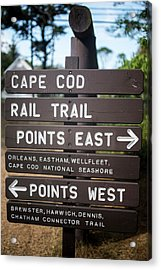 Cape Cod Rail Trail Sign Eastham Acrylic Print by Toby McGuire
