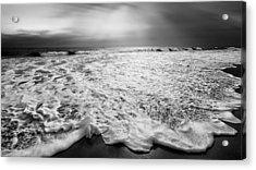 Cape Cod Surf Bw Acrylic Print by Bill Wakeley