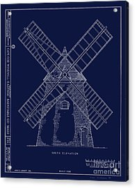 Acrylic Print featuring the photograph Historic Cape Cod Windmill Blueprint by John Stephens