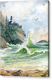 Acrylic Print featuring the painting Cape Disappointment Lighthouse by Marilyn Smith