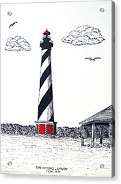 Cape Hatteras Lighthouse Drawing Acrylic Print