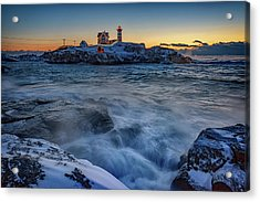 Cape Neddick In The Cold Acrylic Print by Rick Berk