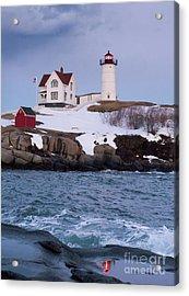 Cape Neddick Light At Dusk, York, Maine 21073 Acrylic Print