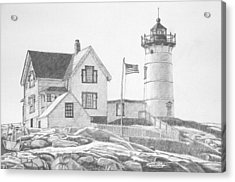 Cape Neddick Light House Drawing Acrylic Print