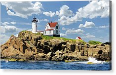Acrylic Print featuring the painting Cape Neddick Lighthouse by Christopher Arndt