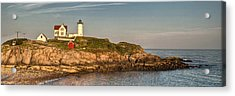 Cape Neddick Lighthouse Island In Evening Light - Panorama Acrylic Print by At Lands End Photography