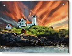 Acrylic Print featuring the digital art Cape Neddick Nubble Lighthouse by Lois Bryan