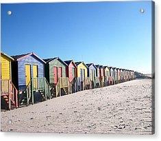 Cape Town Beachhuts Acrylic Print by Linda Russell