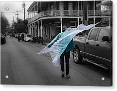 Caped Street Dancer On Frenchmen Street Acrylic Print