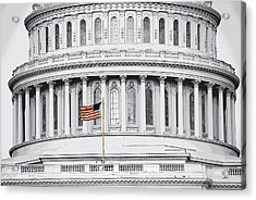 Acrylic Print featuring the photograph Capitol Flag by John Schneider